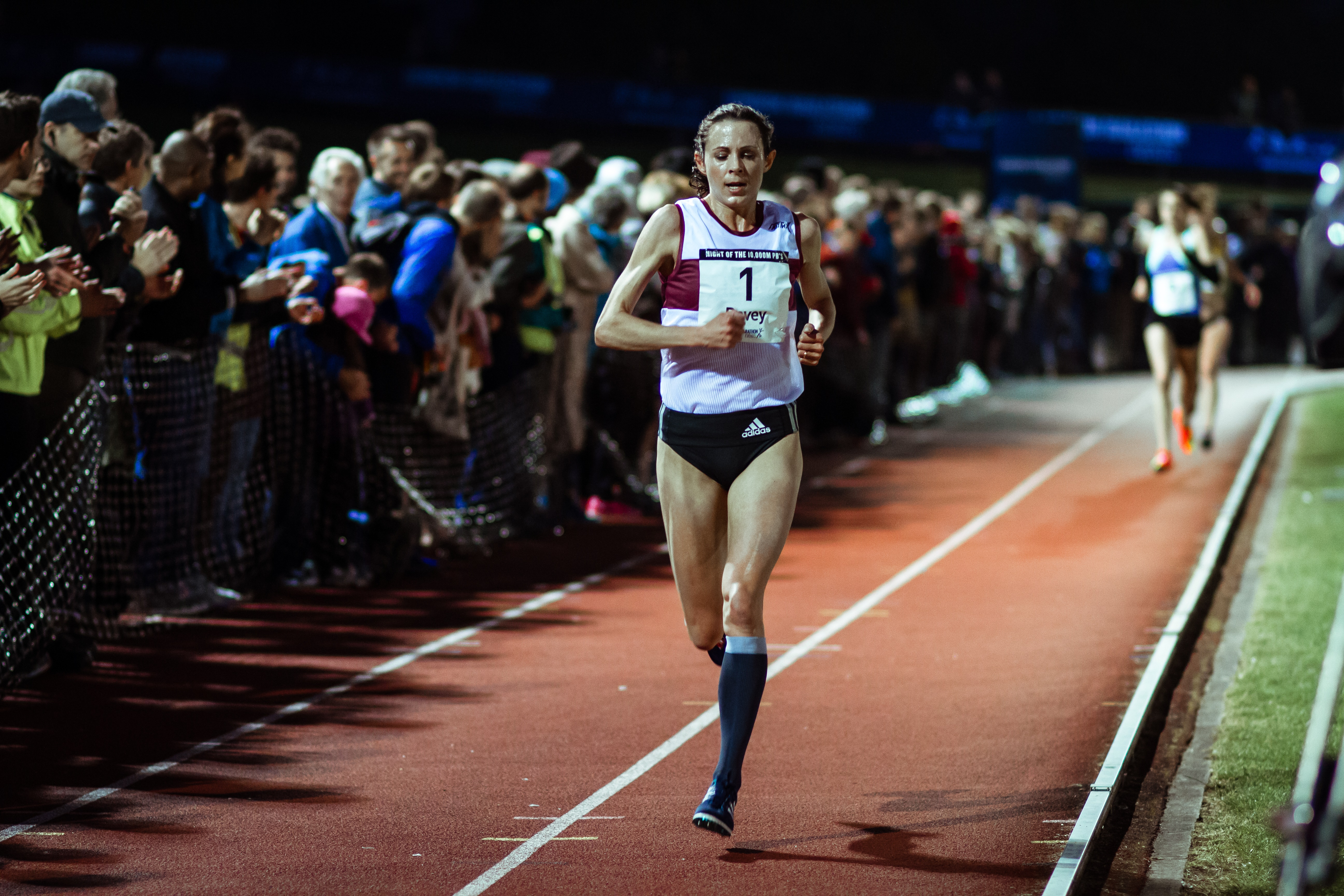 Jo Pavey MBE 2016 Night of the 10,000m PBs credit Andy Waterman Tracksmith